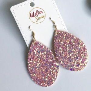 Pink Sparkly Tear Drop Earrings